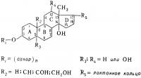 Рис. 1. Типовая структурная формула сердечных гликозидов с обозначением радикалов, входящих в состав их отдельных представителей.