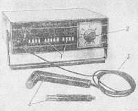 Рис. 1. Аппарат для ультразвуковой терапии УЗТ-101: 1 — клавиши управления; 2 — процедурные часы; 3 — соединительный кабель; 4 — набор излучателей для ультразвукового воздействия.
