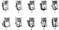 Рис. 12. Схема некоторых способов вшивания имплантатов (сетка из синтетической ткани) при аллопластике пахового канала