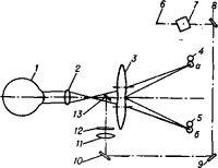 Принципиальная оптическая схема аппарата Вильдта для измерения аккомодации
