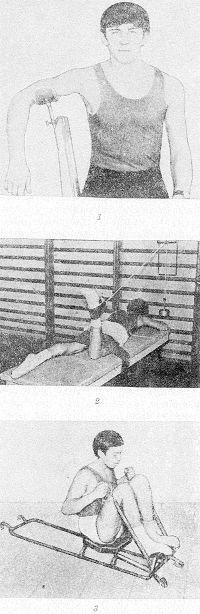 Рис. 21. Упражнения со специальными приспособлениями: 1 — для верхней конечности; 2 — для нижней конечности; 3 — для верхних и нижних конечностей одновременно.
