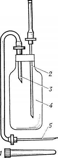 Рис. 1. Схематическое изображение системы для взятия крови (ВК 10-01) одноразового применения: 1— колпачок для иглы, 2— игла воздуховода, 3— игла для подключения к флакону, 4 — флакон для крови, 5— инъекционная игла.