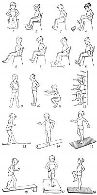 Рис. 3. Комплекс упражнений, рекомендуемых при плоскостопии: из исходного положения сидя на стуле (1—8); из исходного положения стоя (9—18); 1 — разведение и сведение пяток, не отрывая носков от пола, 2 — захватывание стопами мяча и приподнимание его, 3 — максимальное сгибание и разгибание стоп, 4 — захватывание и приподнимание пальцами ног различных предметов (камешков, карандашей и др.), 5 — скольжение стопой вперед и назад с помощью пальцев, 6 — сдавливание стопами резинового мяча, 7 — собирание пальцами ног матерчатого коврика в складки, 8 — катание палки подошвами, 9 — повороты корпуса при фиксированных ногах, 10 —перекат с пятки на носок и обратно, 11 — полуприседания и приседания на носках, руки в стороны, вверх, вперед, 12 — лазание по гимнастической стенке (на перекладины стенки стопы ставят средней частью), 13 — ходьба по гимнастической палке, 14 — ходьба по брусу с наклонными поверхностями, 15 — ходьба по ребристой доске, 16 — ходьба на носках вверх и вниз по наклонной плоскости, 17 — ходьба по поролоновому матрацу, 18 — ходьба на месте по массажному коврику.