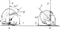Рис. 2. Схематическое изображение положения головы при рентгенографии зрительного канала (а — сбоку, б — сверху): 1 — горизонтальная плоскость; 2 — базальная линия; 3 — центральный луч; 4 — кассета; 5 — сагиттальная плоскость.