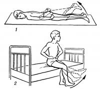 Рис. 7. Схематическое изображение упражнений лечебной гимнастики после менискэктомии: 1 — в положении лежа на животе пассивное сгибание оперированной ноги с помощью резиновой ленты; 2 — в положении сидя активное разгибание оперированной ноги в коленном суставе.
