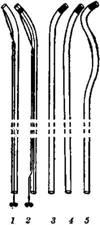 Рис. 2. Катетеры и зонды для бронхографии: 1 — управляемый катетер Розенштрауха; 2 — управляемый катетер Розенштрауха — Смулевича; 3—5 — зонды Метра.