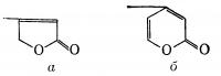 Рис. 2. Структурные формулы лактонных колец, входящих в состав молекулы сердечных гликозидов: а — γ-лактонное кольцо, входящее в состав карденолидов; б— δ-лактонное кольцо, входящее в состав буфадиенолидов.