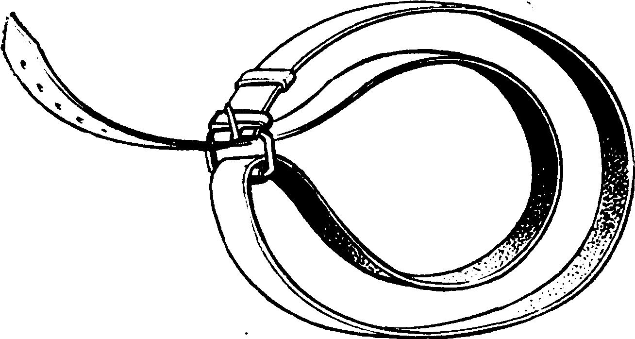 Рис. 7. Импровизированный жгут из поясного ремня (по Энтину).
