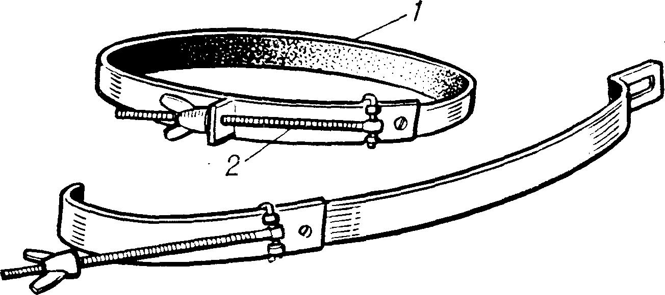 Рис. 2. Жгут Винера: стальная лента (1) с винтом (2) для закрепления и дозирования сжатия конечности (внизу — жгут в разобранном виде).
