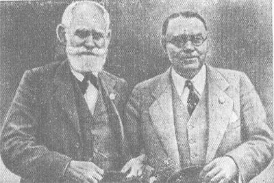 И. П. Павлов и У. Кеннон на физиологическом конгрессе, 1935 г.