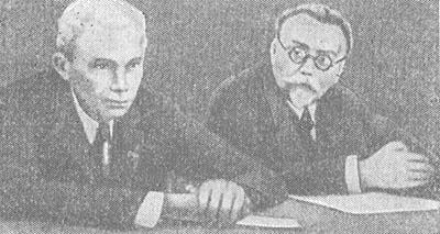 Академики А. А. Богомолец (слева) и Н. Д. Стражеско на IV съезде терапевтов УССР. 1937.